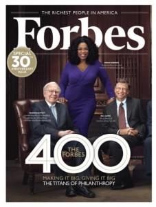The Buzz: Oprah Winfrey, Warren Buffett, and Bill Gates on the cover of Forbes