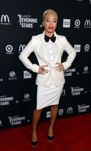 Nicholas Kirkwood Black and White Swirl Pumps worn by Keyshia Cole at the UNCF Gala