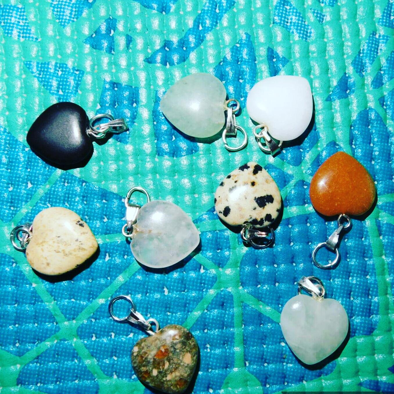 gemstone heart pendants